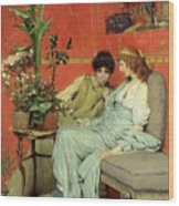 Confidences Wood Print by Sir Lawrence Alma-Tadema
