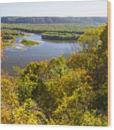 Confluence Of Mississippi And Wisconsin Rivers Wood Print
