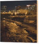Confluence Park Rapids At Night Wood Print
