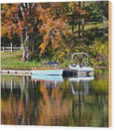 Connect Lake In The Fall Wood Print