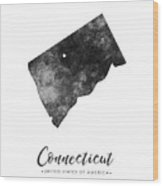 Connecticut State Map Art - Grunge Silhouette Wood Print