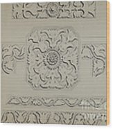 Connecticut-type Hadley Chest-detail Of Central Panel Wood Print