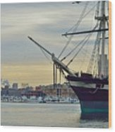 Uss Constellation And Domino Sugars - Sloop Of War Warship In Baltimore's Inner Harbor - Us Navy Wood Print