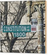 Constitution Avenue Street Sign Wood Print