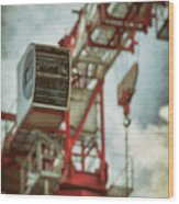 Construction Crane Wood Print by Wim Lanclus