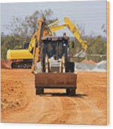 Construction Digger Wood Print
