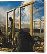Construction In Ladakh Wood Print