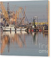 Construction Of Oil Platform With Boats Wood Print