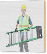 Construction Worker Carrying A Ladder Wood Print