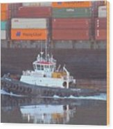 Container Ship And Tug Wood Print