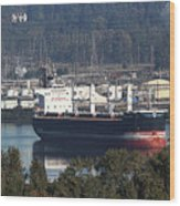 Container Ship Ready To Load More Lumber Wood Print