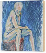 Contemplative A Nude Male Oil Pastel Drawing In Blue Wood Print