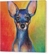 Contemporary Colorful Chihuahua Chiuaua Painting Wood Print