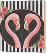 Contemporary Flamingos 1 Wood Print