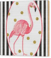 Contemporary Flamingos 2 Wood Print