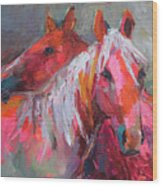 Contemporary Horses Painting Wood Print