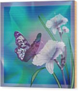 Contemporary Painting Of A Dancing Butterfly  Wood Print