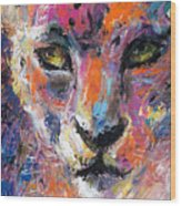 contemporary Wildlife painting cheetah leopard  Wood Print