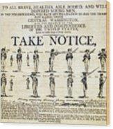Continental Army Recruitment Broadside Wood Print