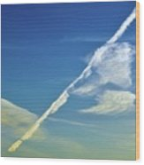Contrails And Clouds Two  Wood Print