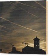 Contrails At Sunrise Wood Print