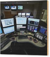 Control Room Center For Emergency Wood Print by Terry Moore