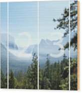 Controlled Burn Of Yosemite Panoramic Map Wood Print