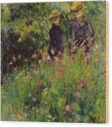 Conversation In A Rose Garden 1876 Wood Print