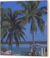 Convertible On Pigeon Key In Florida Wood Print