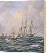 Convoy Of East Indiamen Amid Fishing Boats Wood Print