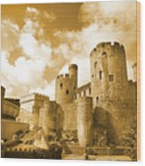 Conwy Castle And The Telford Suspension Bridge North Wales Wood Print
