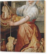 Cook With Chicken. In The Background Christ With Mary And Martha Wood Print
