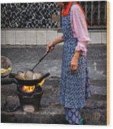 Cooking Breakfast  Wood Print