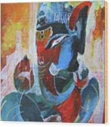 Cool And Graphical Lord Ganesha Wood Print