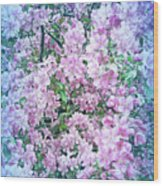 Cool Blue Apple Blossoms Wood Print