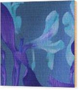 Cool Blue Lilies Wood Print