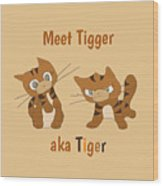Cool Cat Design Wood Print