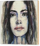 Cool Colored Watercolor Face Wood Print