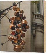 Cool Copper Pots - Parisian Restaurant Left Bank La Rive Gauche Wood Print