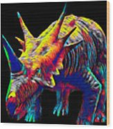 Cool Dinosaur Color Designed Creature Wood Print