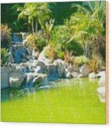 Cool Green Waterfall Wood Print