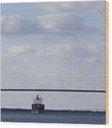 Cooper River Bridge Container Ship Charleston Wood Print