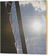 Cooper River Bridge Lens Flair Wood Print