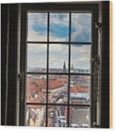 Copenhagen Cityscape And Roofs Behind A Window Wood Print