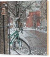 Copenhagen In The Winter.a Lonely Bike Wood Print