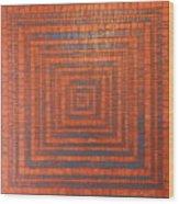Copper And Cerulean Crack Wood Print