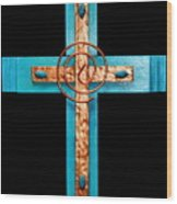 Copper And Stone Cross Wood Print