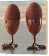 Copper Chicken Feet Egg Cups Wood Print