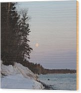 Copper Country Moonset Portrait Wood Print