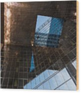 Copper Glass And Steel Geometry - Fabulous Modern Architecture In London U K Wood Print